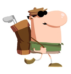 Male golfer carrying a bag on his back vector
