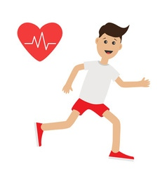 Funny cartoon running guy heart beat icon cute run vector