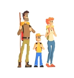 Family of three ready for hike vector
