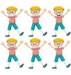 Boy with different facial expressions vector