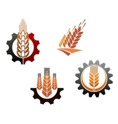 Agriculture symbols set vector image vector image