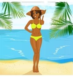 beautiful african american woman in bikini vector image vector image