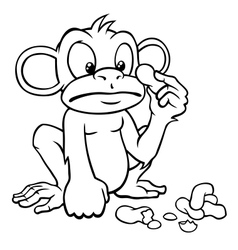 Black and white cartoon monkey with peanuts vector