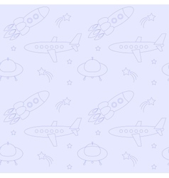 Blue seamless pattern with planes rockets vector image vector image