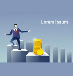 Business man walk financial chart bar to coin vector