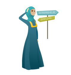 Confused muslim woman choosing career pathway vector