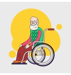 Elderly man sit in wheelchair Caring for seniors vector image vector image