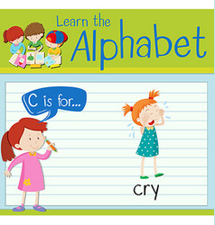 Flashcard letter c is for cry vector