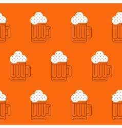 Foamy beer mug linear pattern vector