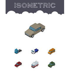 Isometric transport set of lorry first-aid truck vector