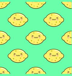 lemon smiley kawaii cartoon character seamless vector image vector image