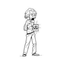 Mad cartoon professor vector