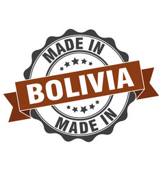 Made in bolivia round seal vector