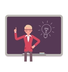 Man against the blackboard with drawn light bulb vector
