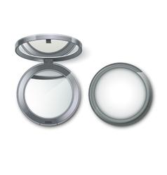 Metal pocket cosmetic make up mirror vector