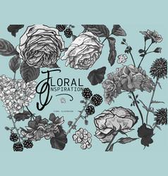 Monochrome vintage floral greeting card vector