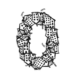 Number zero made from houses alphabet vector