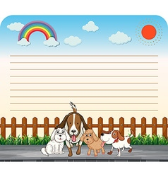 Paper design with cute dogs vector