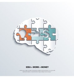 piece of jigsaw puzzle showing business equation vector image vector image