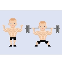 Pixel art character athlet bodybuilder lifting vector