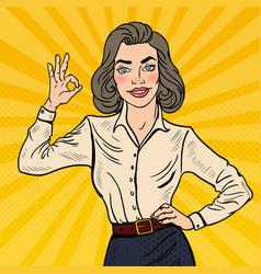 Pop art successful businesswoman gesturing ok vector