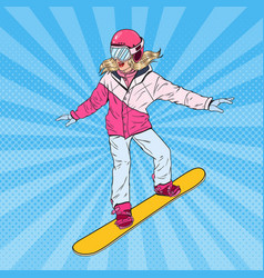 pop art woman snowboarder on the slopes vector image vector image