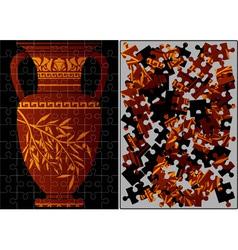 puzzle of greek amphora vector image vector image