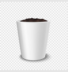 realistic white flower pot with soil vector image