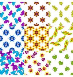 Set colorful floral patterns vector image vector image