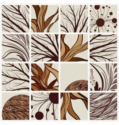 set of abstract backgrounds with tree branches and vector image