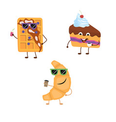 Set of funny characters from croissant belgian vector