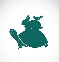 Turtles rabbits birds vector