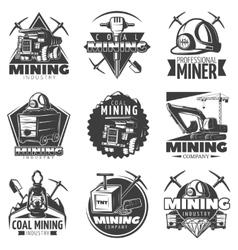 Vintage Mining Labels Set vector image vector image