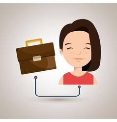 Woman cartoon suitcase business portfolio vector