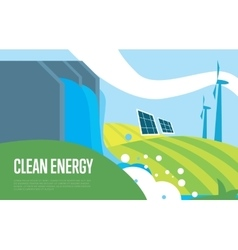 Clean energy Sun water and wind power vector image