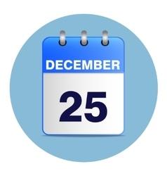 Christmas calendar icon in blue tones vector image