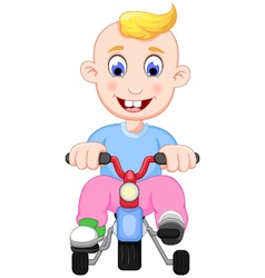Funny baby cartoon playing bicycle vector