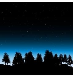 Evening contour black and landscape trees vector image
