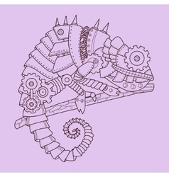 Steampunk style chameleon hand drawn vector