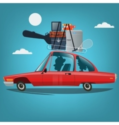 Family going to vacation by car travel concept vector