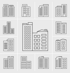 Line building icons vector
