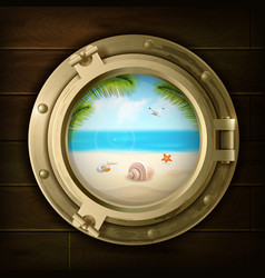 Summer background in ship porthole vector