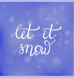 Winter lettering on blue snowflakes background vector
