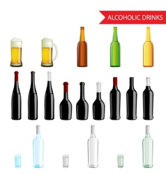 Realistic alcoholic drinks and beverages icon set vector