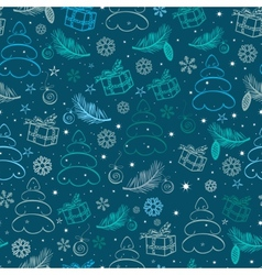 Christmas blue snowy abstract background vector image