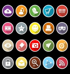 Internet useful flat icons with long shadow vector