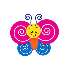 Smile happy colorful butterfly on the white vector