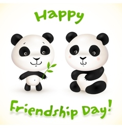 Cute little pandas friends vector