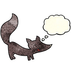 Cartoon little wolf cub with thought bubble vector