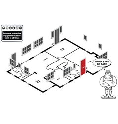 Isometric house floor plan vector image
